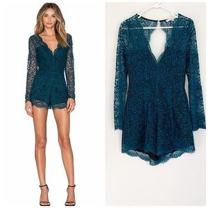 Lovers and Friends Green Lace Romper